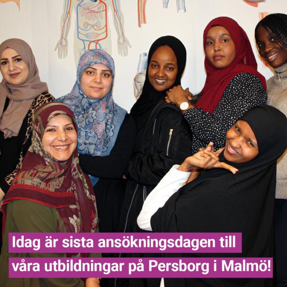 Sista ansökan till våra utbildningar på Persborg i Malmö!
